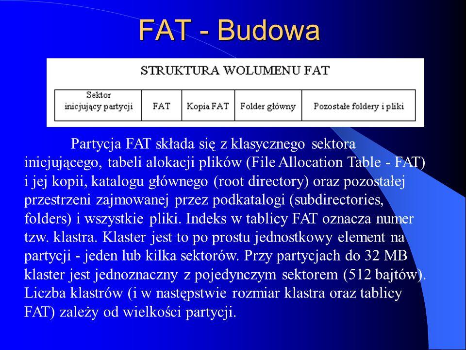 Partycja FAT składa się z klasycznego sektora inicjującego, tabeli alokacji plików (File Allocation Table - FAT) i jej kopii, katalogu głównego (root directory) oraz pozostałej przestrzeni zajmowanej przez podkatalogi (subdirectories, folders) i wszystkie pliki.