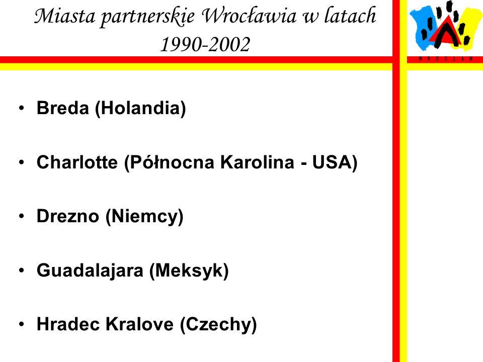 Miasta partnerskie Wrocławia w latach 1990-2002 Breda (Holandia) Charlotte (Północna Karolina - USA) Drezno (Niemcy) Guadalajara (Meksyk) Hradec Kralo