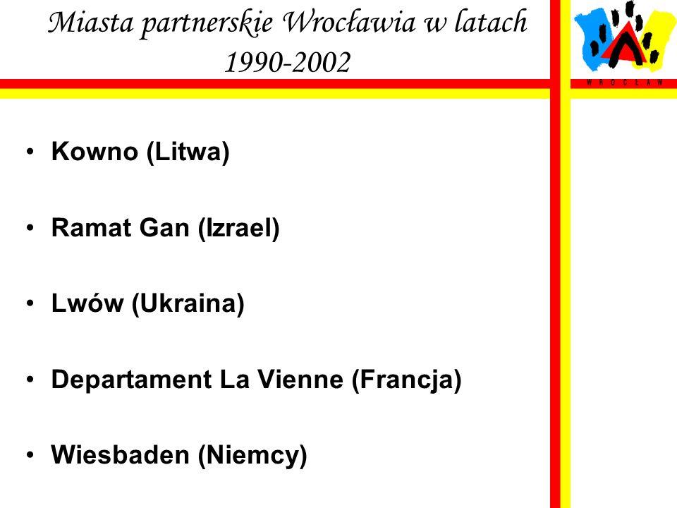 Miasta partnerskie Wrocławia w latach 1990-2002 Kowno (Litwa) Ramat Gan (Izrael) Lwów (Ukraina) Departament La Vienne (Francja) Wiesbaden (Niemcy)
