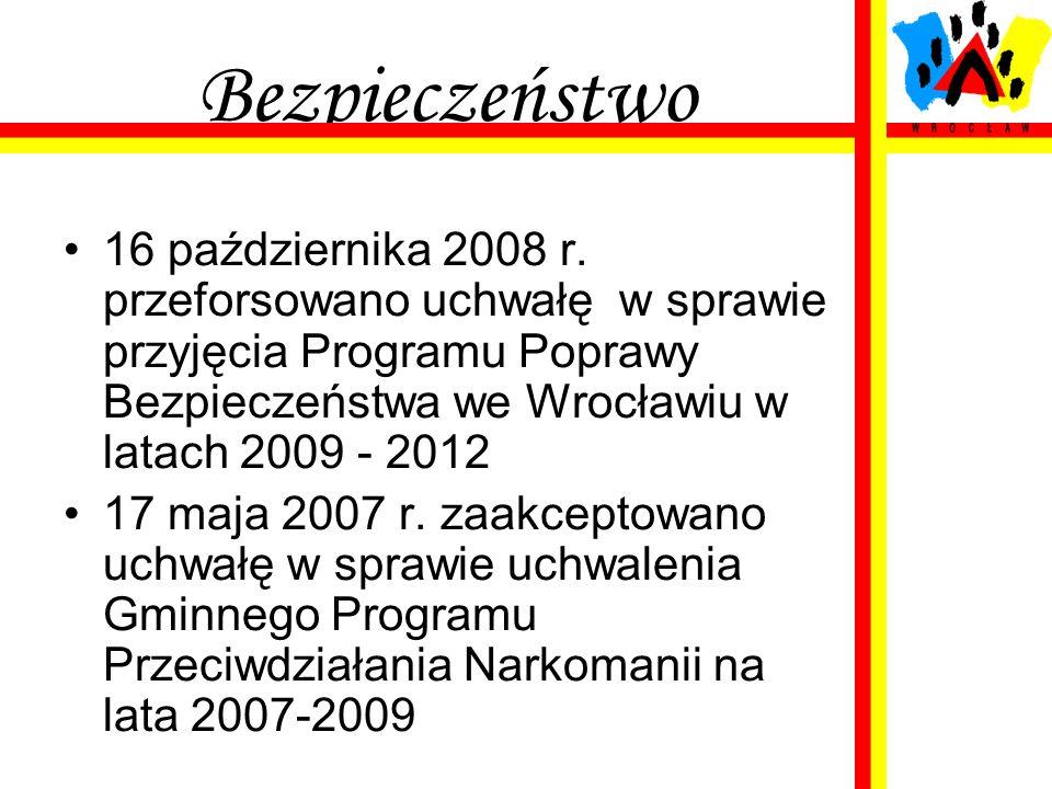 Bezpieczeństwo 16 października 2008 r. przeforsowano uchwałę w sprawie przyjęcia Programu Poprawy Bezpieczeństwa we Wrocławiu w latach 2009 - 2012 17