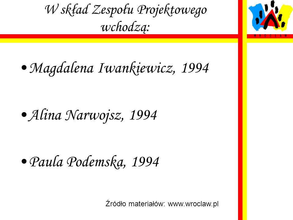 W skład Zespołu Projektowego wchodzą: Magdalena Iwankiewicz, 1994 Alina Narwojsz, 1994 Paula Podemska, 1994 Źródło materiałów: www.wroclaw.pl