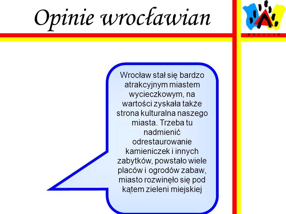 Opinie wrocławian Wrocław stał się bardzo atrakcyjnym miastem wycieczkowym, na wartości zyskała także strona kulturalna naszego miasta. Trzeba tu nadm