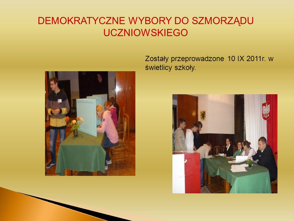 DEMOKRATYCZNE WYBORY DO SZMORZĄDU UCZNIOWSKIEGO Zostały przeprowadzone 10 IX 2011r.