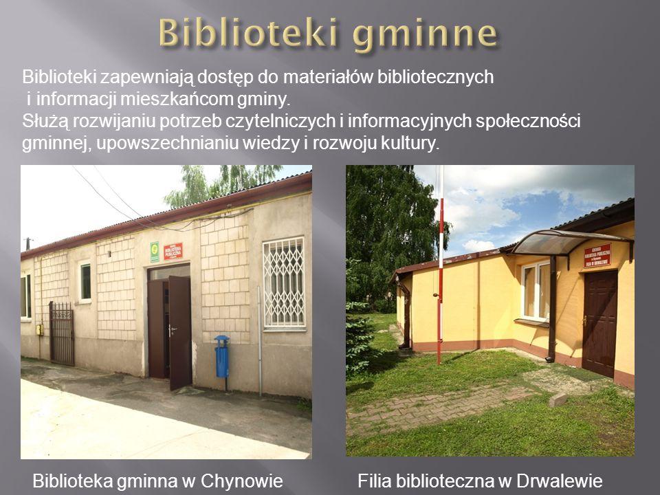 Biblioteka gminna w ChynowieFilia biblioteczna w Drwalewie Biblioteki zapewniają dostęp do materiałów bibliotecznych i informacji mieszkańcom gminy. S