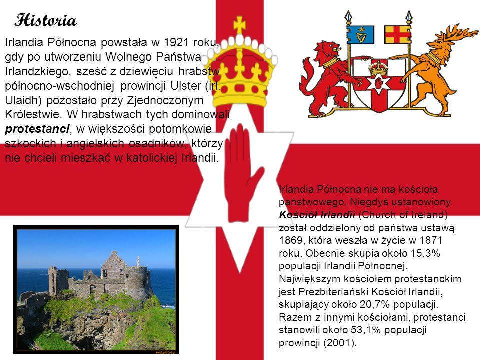 Historia Irlandia Północna powstała w 1921 roku, gdy po utworzeniu Wolnego Państwa Irlandzkiego, sześć z dziewięciu hrabstw północno-wschodniej prowin