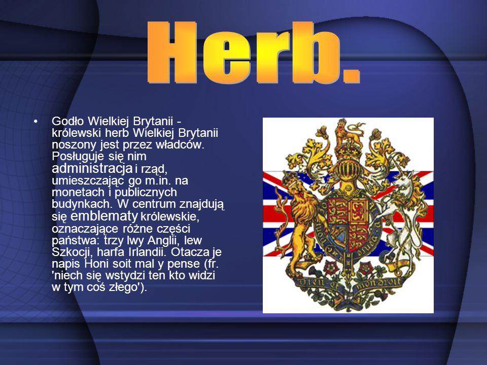 Godło Wielkiej Brytanii - królewski herb Wielkiej Brytanii noszony jest przez władców. Posługuje się nim administracja i rząd, umieszczając go m.in. n