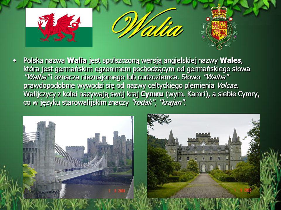Walia Polska nazwa Walia jest spolszczoną wersją angielskiej nazwy Wales, która jest germańskim egzonimem pochodzącym od germańskiego słowa