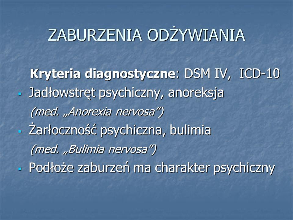 """ZABURZENIA ODŻYWIANIA Kryteria diagnostyczne : DSM IV, ICD-10 Kryteria diagnostyczne : DSM IV, ICD-10  Jadłowstręt psychiczny, anoreksja (med. """"Anore"""