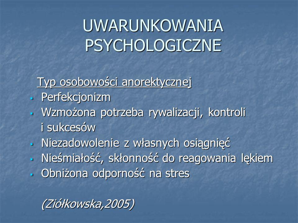 UWARUNKOWANIA PSYCHOLOGICZNE Typ osobowości anorektycznej Typ osobowości anorektycznej  Perfekcjonizm  Wzmożona potrzeba rywalizacji, kontroli i suk
