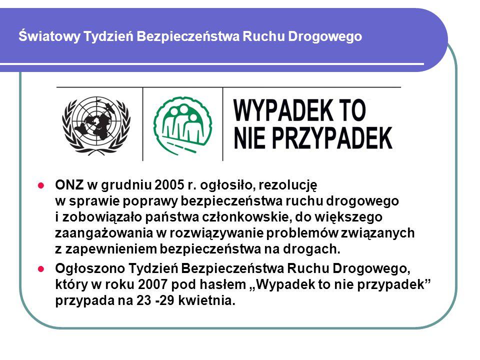 Światowy Tydzień Bezpieczeństwa Ruchu Drogowego ONZ w grudniu 2005 r.