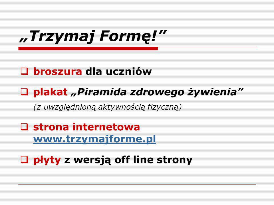 """""""Trzymaj Formę!  broszura dla uczniów  plakat """"Piramida zdrowego żywienia (z uwzględnioną aktywnością fizyczną)  strona internetowa www.trzymajforme.pl www.trzymajforme.pl  płyty z wersją off line strony"""