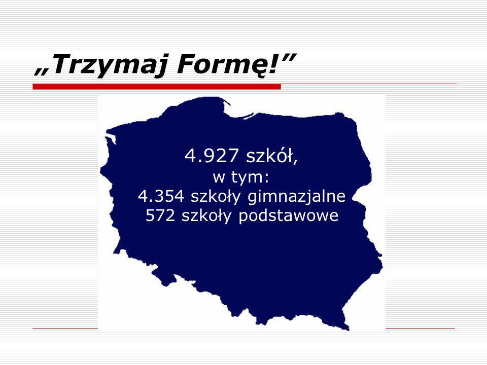 """""""Trzymaj Formę! 4.927 szkół, w tym: 4.354 szkoły gimnazjalne 572 szkoły podstawowe"""