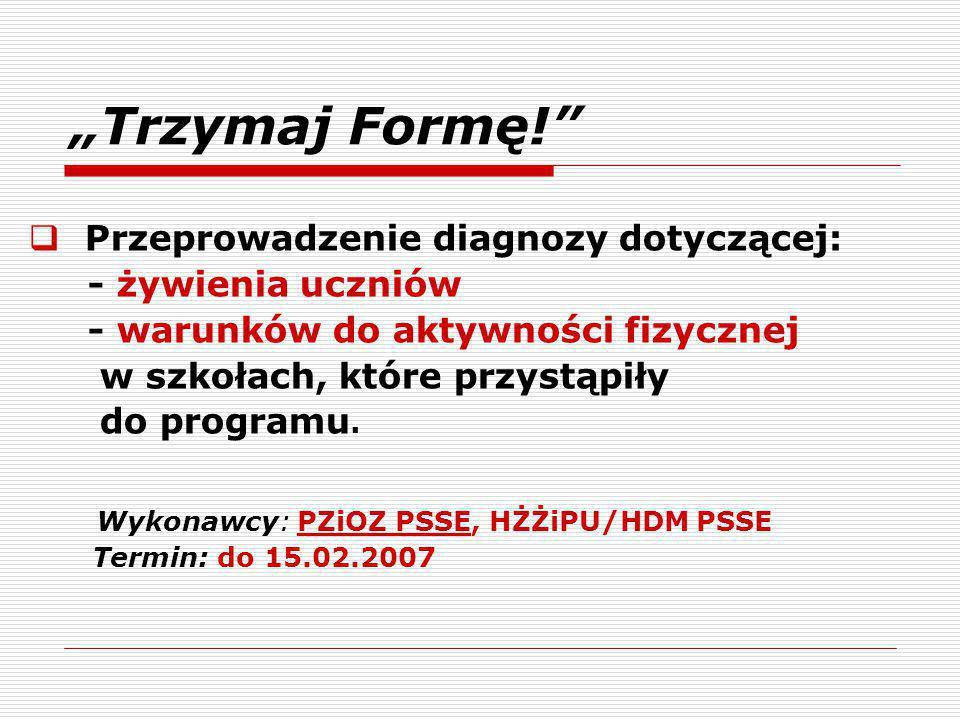 """""""Trzymaj Formę!  Przeprowadzenie diagnozy dotyczącej: - żywienia uczniów - warunków do aktywności fizycznej w szkołach, które przystąpiły do programu."""