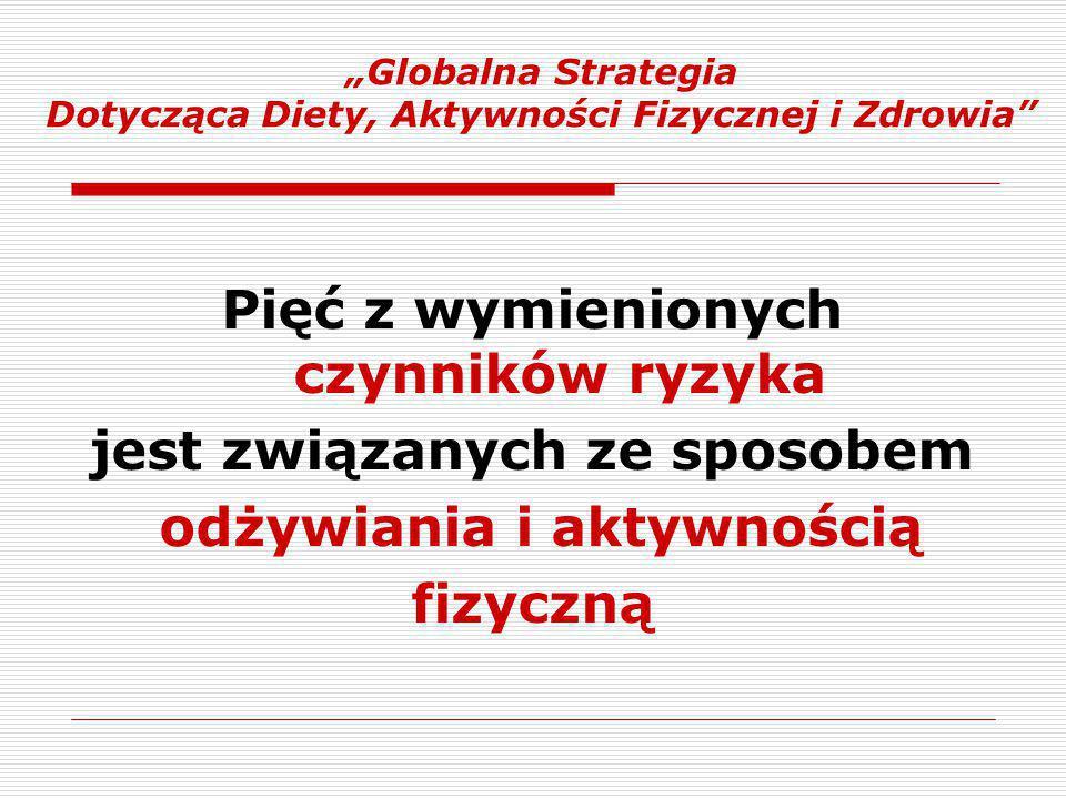 """""""Globalna Strategia Dotycząca Diety, Aktywności Fizycznej i Zdrowia Pięć z wymienionych czynników ryzyka jest związanych ze sposobem odżywiania i aktywnością fizyczną"""