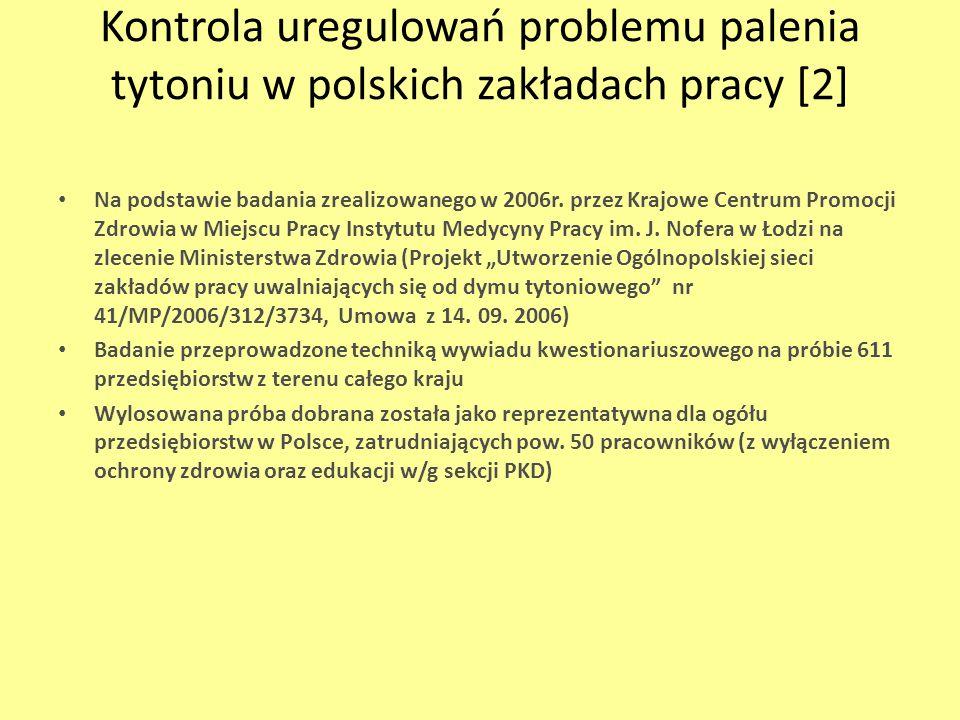 Kontrola uregulowań problemu palenia tytoniu w polskich zakładach pracy [2] Na podstawie badania zrealizowanego w 2006r. przez Krajowe Centrum Promocj