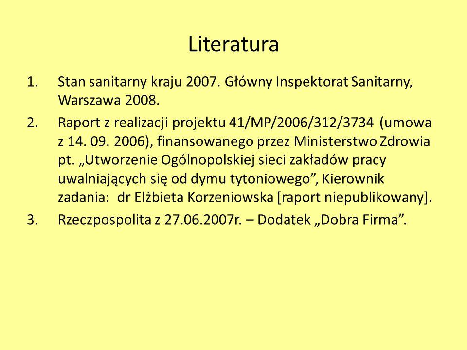 Literatura 1.Stan sanitarny kraju 2007. Główny Inspektorat Sanitarny, Warszawa 2008. 2.Raport z realizacji projektu 41/MP/2006/312/3734 (umowa z 14. 0