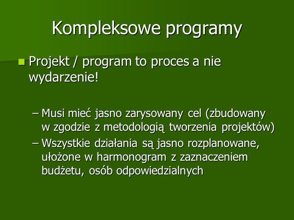 Kompleksowe programy Projekt / program to proces a nie wydarzenie.
