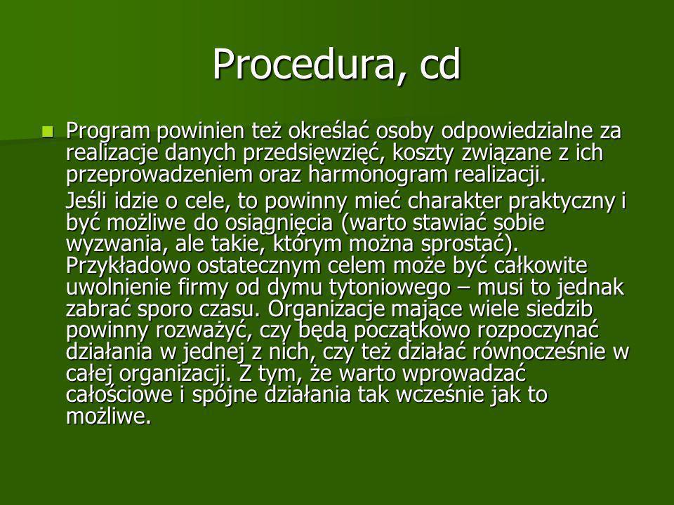 Procedura, cd Program powinien też określać osoby odpowiedzialne za realizacje danych przedsięwzięć, koszty związane z ich przeprowadzeniem oraz harmonogram realizacji.