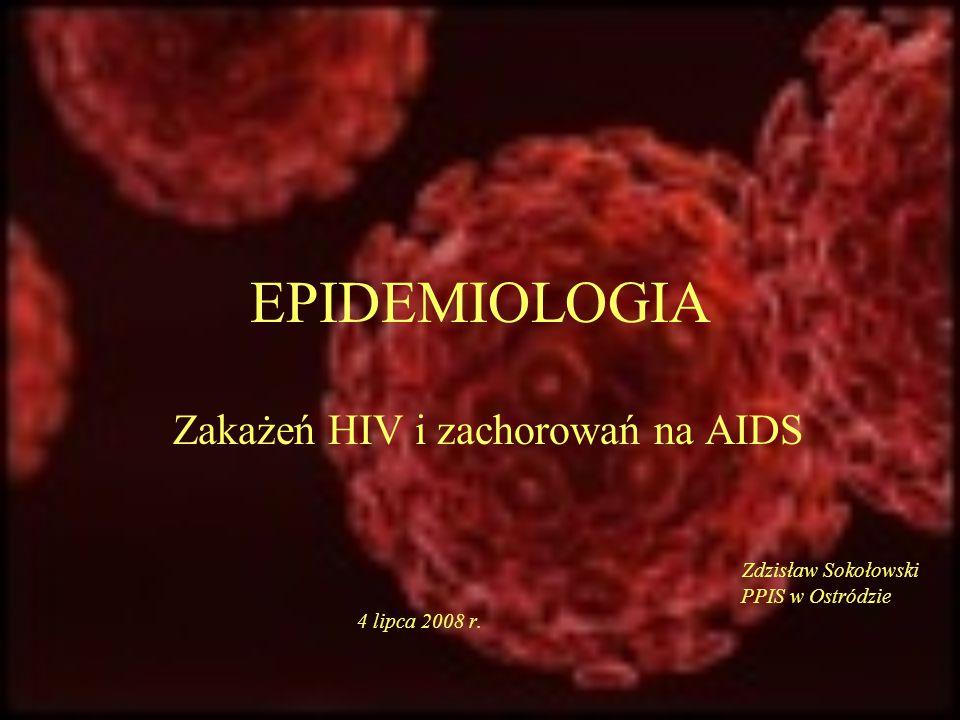 Kalendarium HIV/AIDS 1981 pierwsze opisy choroby (The Lancet, N Engl J Med.) 1982 nazwa AIDS: acquired immune deficiency syndrome, zespół nabytego upośledzenia odporności 1983 izolacja wirusa 1985 rejestracja testu ELISA na obecność przeciwciał anty-HIV 1985 pierwszy przypadek zakażenia HIV w Polsce 1986 pierwsze zachorowanie na AIDS w Polsce 1986 pierwszy lek- zydowudyna, Retrovir 1986 wykazano ścisłe pokrewieństwo między SIV i HIV 1987 od października wprowadzono badania w kierunku obecności przeciwciał anty-HIV każdej porcji krwi oddanej w stacjach krwiodawstwa