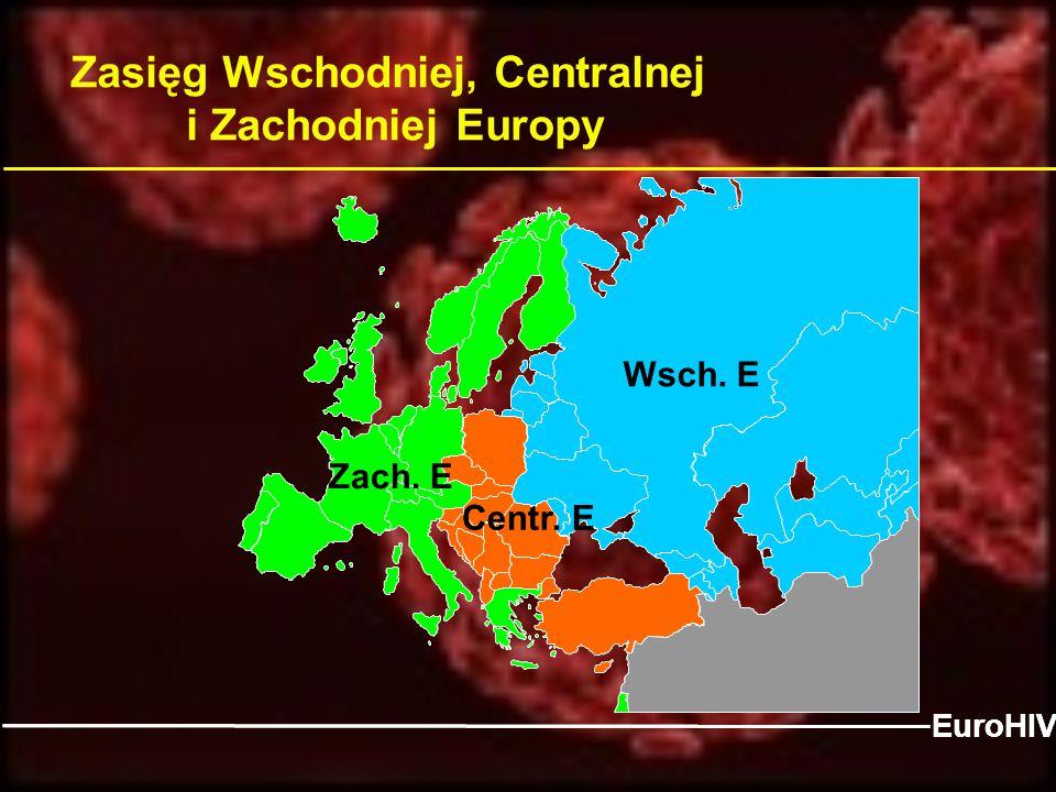Zasięg Wschodniej, Centralnej i Zachodniej Europy East Centre EuroHIV Zach. E Wsch. E Centr. E EuroHIV