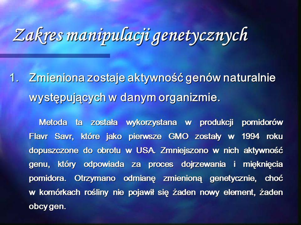 Zakres manipulacji genetycznych 1.Zmieniona zostaje aktywność genów naturalnie występujących w danym organizmie. Metoda ta została wykorzystana w prod