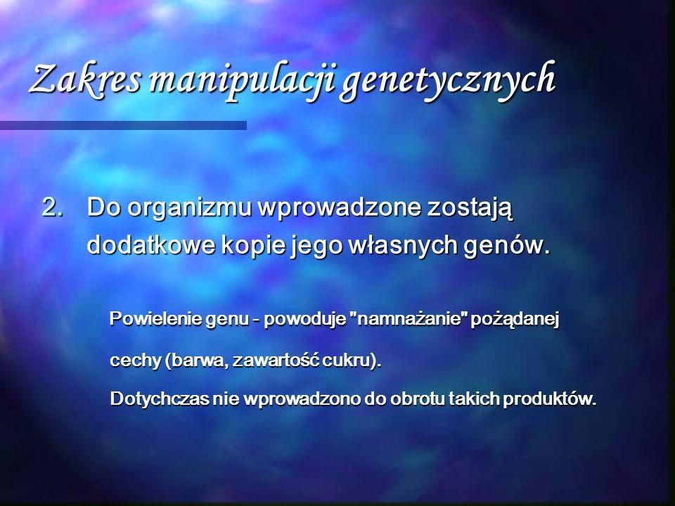 Zakres manipulacji genetycznych 2.Do organizmu wprowadzone zostają dodatkowe kopie jego własnych genów. Powielenie genu - powoduje