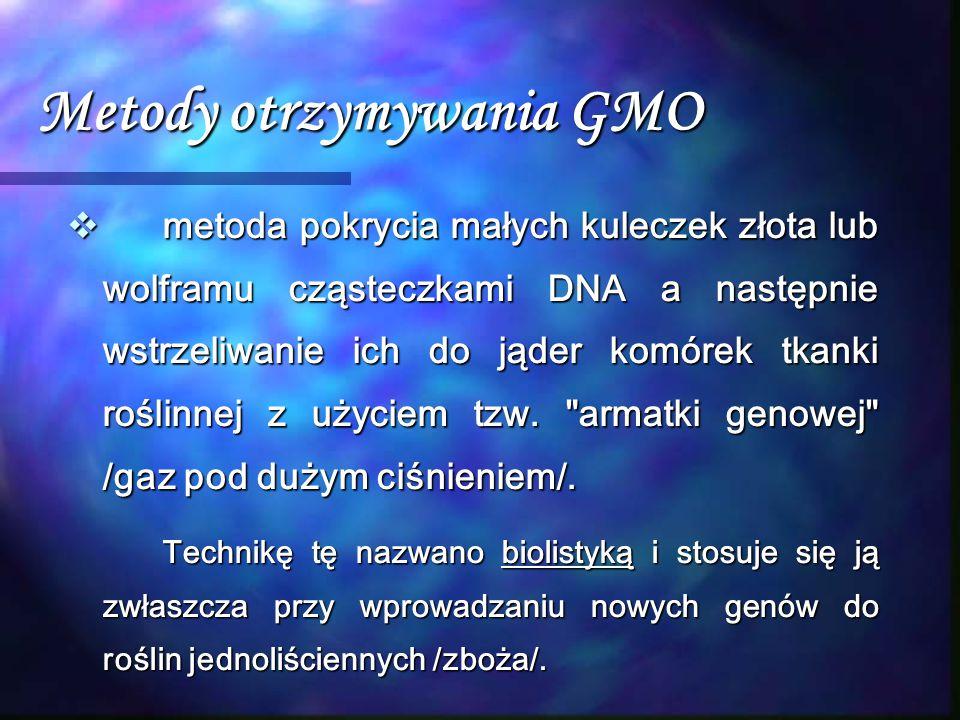 Metody otrzymywania GMO  metoda pokrycia małych kuleczek złota lub wolframu cząsteczkami DNA a następnie wstrzeliwanie ich do jąder komórek tkanki ro