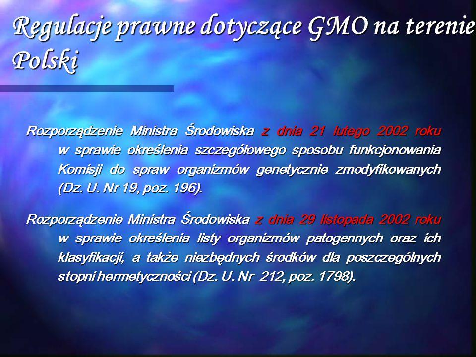 Regulacje prawne dotyczące GMO na terenie Polski Rozporządzenie Ministra Środowiska z dnia 21 lutego 2002 roku w sprawie określenia szczegółowego spos