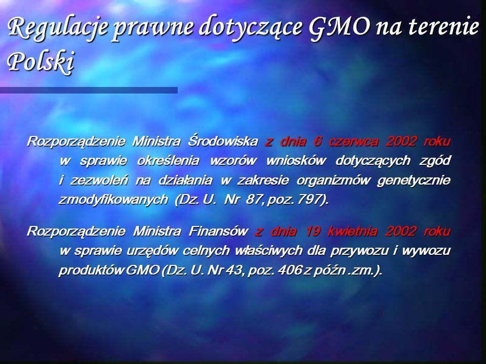 Regulacje prawne dotyczące GMO na terenie Polski Rozporządzenie Ministra Środowiska z dnia 6 czerwca 2002 roku w sprawie określenia wzorów wniosków do
