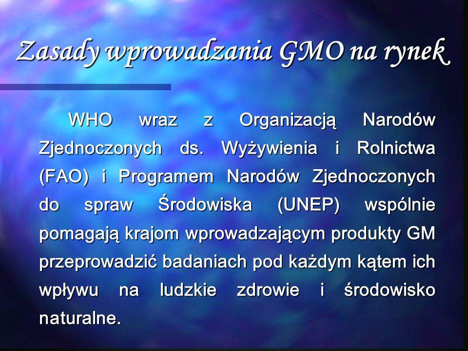 Zasady wprowadzania GMO na rynek WHO wraz z Organizacją Narodów Zjednoczonych ds. Wyżywienia i Rolnictwa (FAO) i Programem Narodów Zjednoczonych do sp