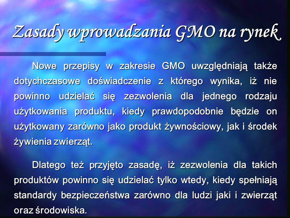 Zasady wprowadzania GMO na rynek Nowe przepisy w zakresie GMO uwzględniają także dotychczasowe doświadczenie z którego wynika, iż nie powinno udzielać