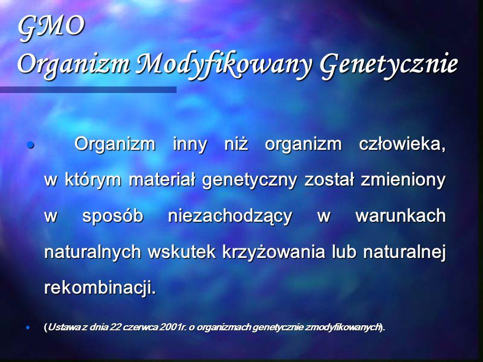 GMO Organizm Modyfikowany Genetycznie  Organizm inny niż organizm człowieka, w którym materiał genetyczny został zmieniony w sposób niezachodzący w w