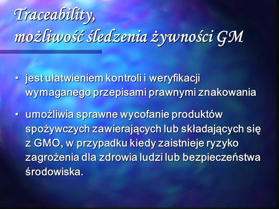 Traceability, możliwość śledzenia żywności GM jest ułatwieniem kontroli i weryfikacji wymaganego przepisami prawnymi znakowaniajest ułatwieniem kontro