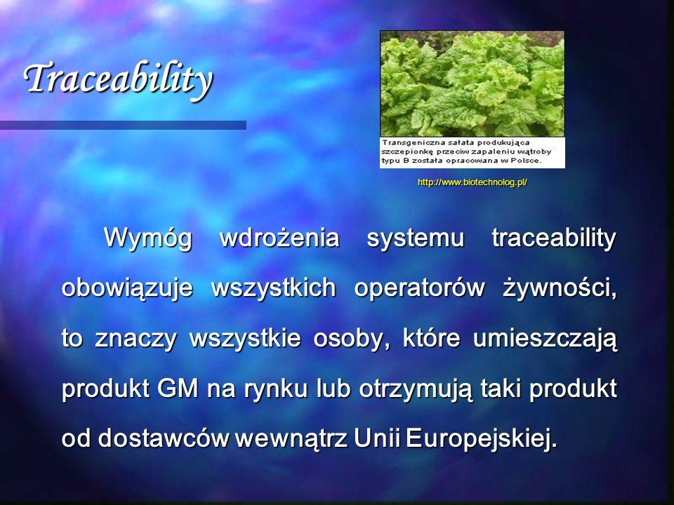 Traceability Wymóg wdrożenia systemu traceability obowiązuje wszystkich operatorów żywności, to znaczy wszystkie osoby, które umieszczają produkt GM n