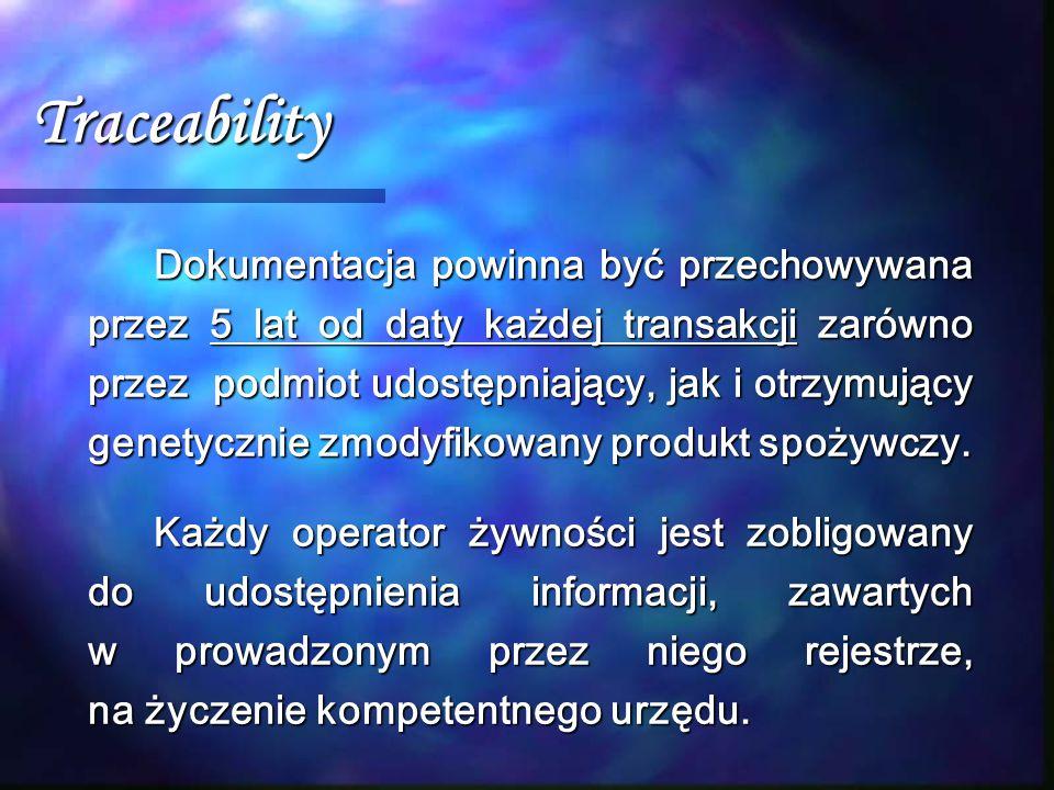 Traceability Dokumentacja powinna być przechowywana przez 5 lat od daty każdej transakcji zarówno przez podmiot udostępniający, jak i otrzymujący gene