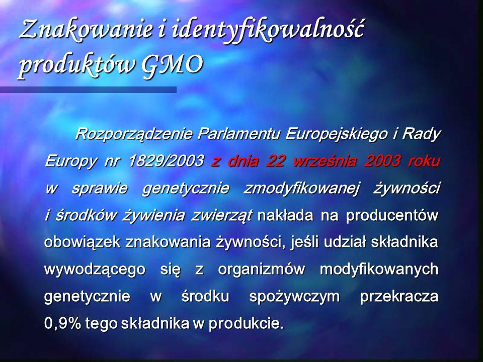 Znakowanie i identyfikowalność produktów GMO Rozporządzenie Parlamentu Europejskiego i Rady Europy nr 1829/2003 z dnia 22 września 2003 roku w sprawie