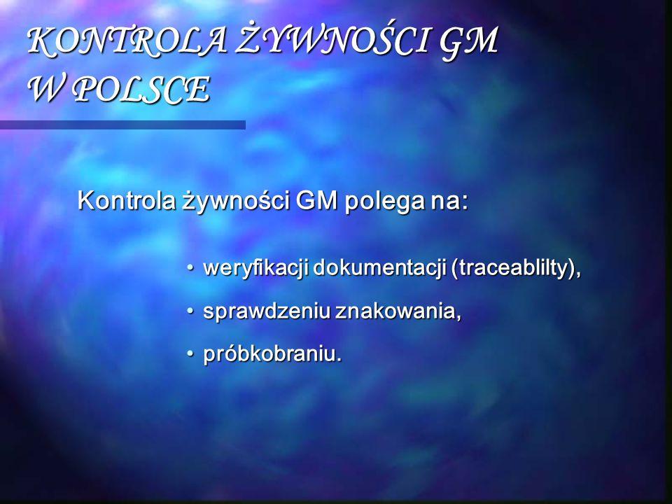 KONTROLA ŻYWNOŚCI GM W POLSCE Kontrola żywności GM polega na: weryfikacji dokumentacji (traceablilty),weryfikacji dokumentacji (traceablilty), sprawdz
