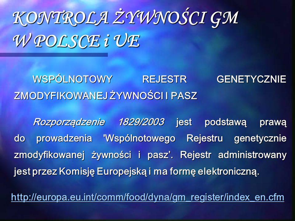 KONTROLA ŻYWNOŚCI GM W POLSCE i UE WSPÓLNOTOWY REJESTR GENETYCZNIE ZMODYFIKOWANEJ ŻYWNOŚCI I PASZ Rozporządzenie 1829/2003 jest podstawą prawą do prow