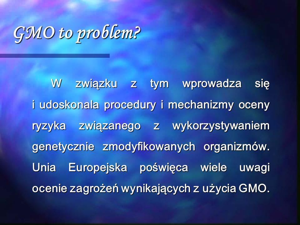 GMO to problem? W związku z tym wprowadza się i udoskonala procedury i mechanizmy oceny ryzyka związanego z wykorzystywaniem genetycznie zmodyfikowany