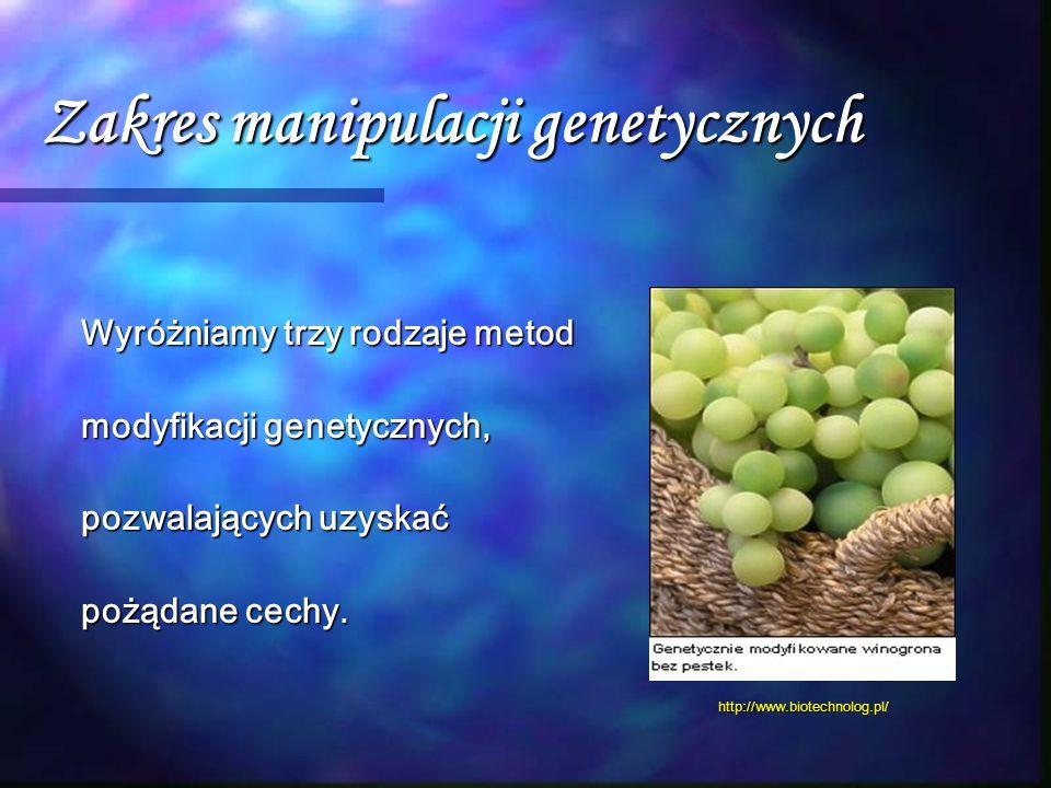 Zakres manipulacji genetycznych Wyróżniamy trzy rodzaje metod modyfikacji genetycznych, pozwalających uzyskać pożądane cechy. http://www.biotechnolog.