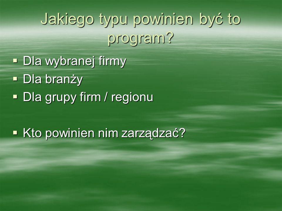 Jakiego typu powinien być to program?  Dla wybranej firmy  Dla branży  Dla grupy firm / regionu  Kto powinien nim zarządzać?