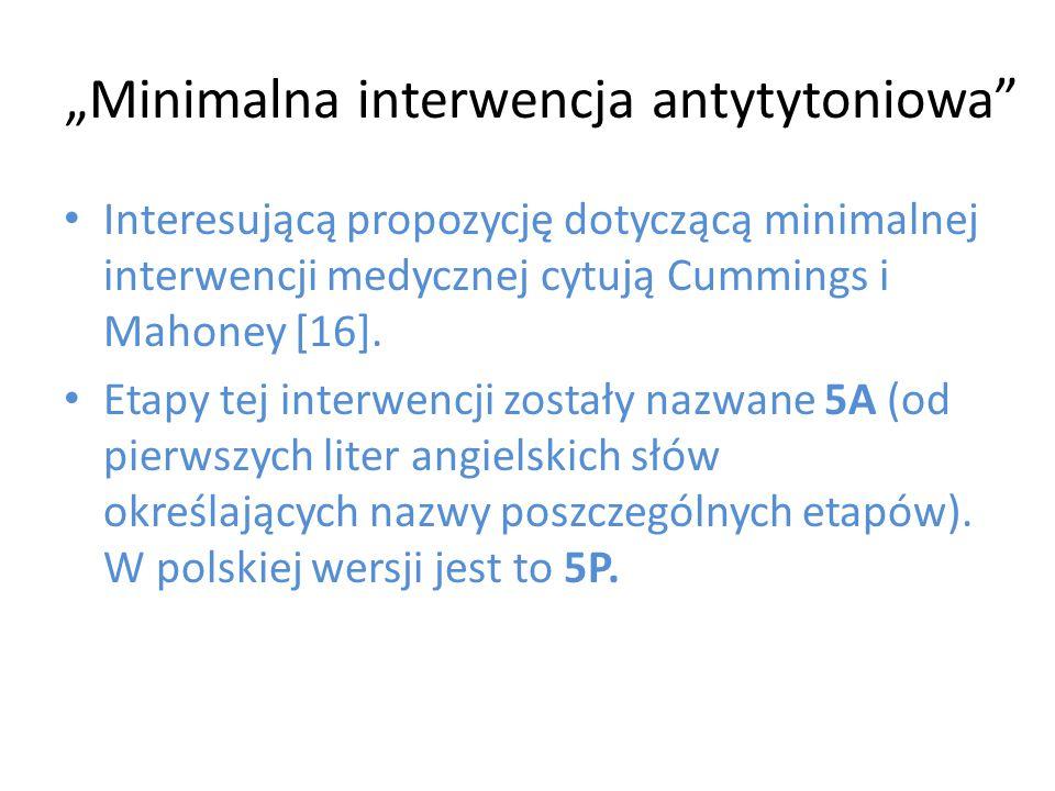 """""""Minimalna interwencja antytytoniowa"""" Interesującą propozycję dotyczącą minimalnej interwencji medycznej cytują Cummings i Mahoney [16]. Etapy tej int"""