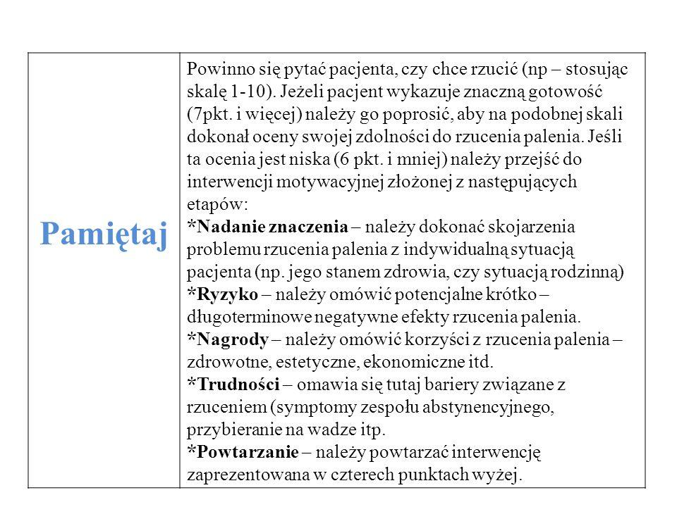 Pamiętaj Powinno się pytać pacjenta, czy chce rzucić (np – stosując skalę 1-10). Jeżeli pacjent wykazuje znaczną gotowość (7pkt. i więcej) należy go p