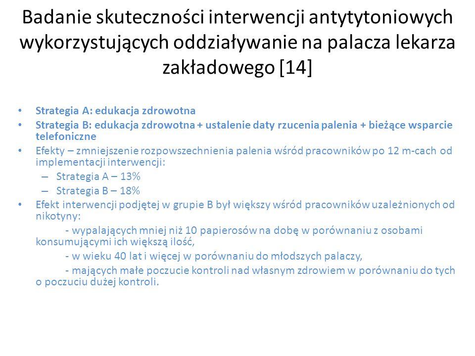 Badanie skuteczności interwencji antytytoniowych wykorzystujących oddziaływanie na palacza lekarza zakładowego [14] Strategia A: edukacja zdrowotna St