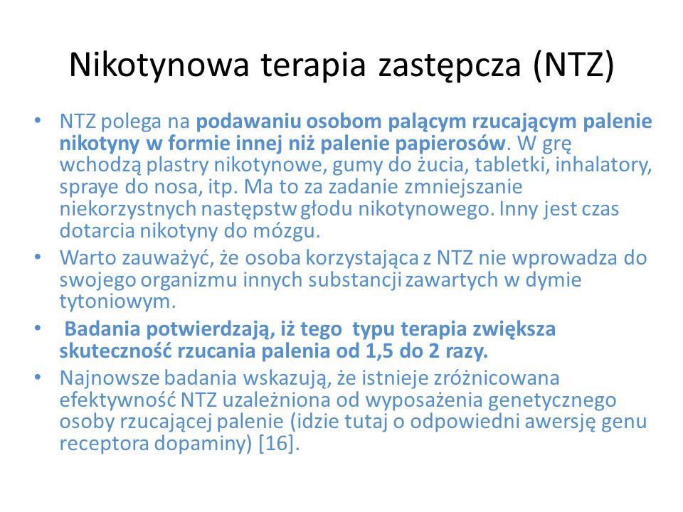 Nikotynowa terapia zastępcza (NTZ) NTZ polega na podawaniu osobom palącym rzucającym palenie nikotyny w formie innej niż palenie papierosów. W grę wch