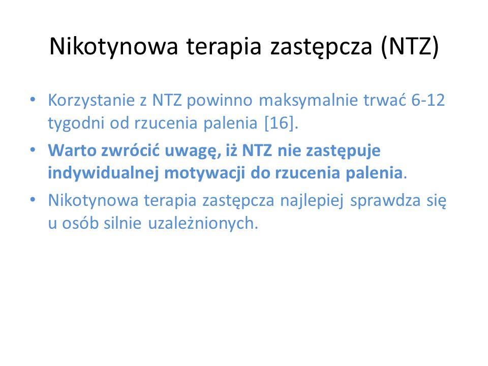 Korzystanie z NTZ powinno maksymalnie trwać 6-12 tygodni od rzucenia palenia [16]. Warto zwrócić uwagę, iż NTZ nie zastępuje indywidualnej motywacji d