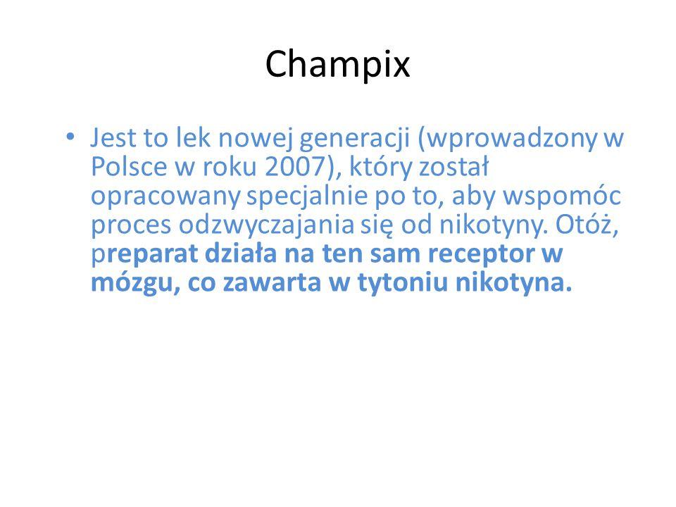 Champix Jest to lek nowej generacji (wprowadzony w Polsce w roku 2007), który został opracowany specjalnie po to, aby wspomóc proces odzwyczajania się