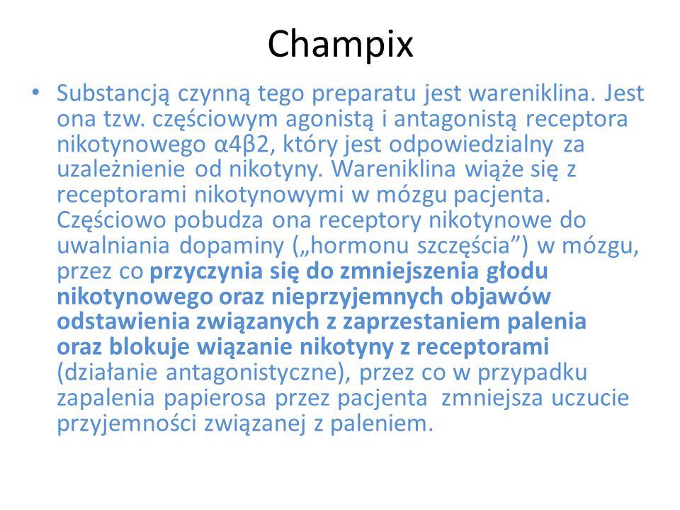 Champix Substancją czynną tego preparatu jest wareniklina. Jest ona tzw. częściowym agonistą i antagonistą receptora nikotynowego α4β2, który jest odp