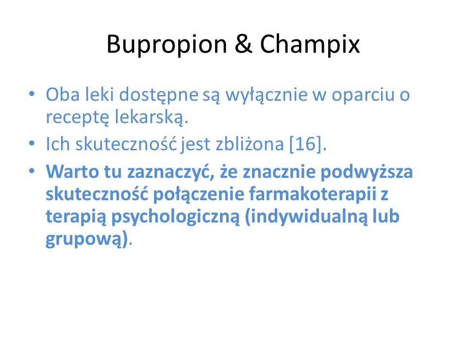Bupropion & Champix Oba leki dostępne są wyłącznie w oparciu o receptę lekarską. Ich skuteczność jest zbliżona [16]. Warto tu zaznaczyć, że znacznie p