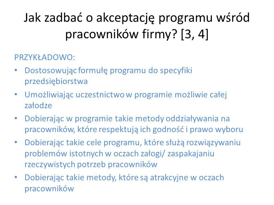 Jak zadbać o akceptację programu wśród pracowników firmy? [3, 4] PRZYKŁADOWO: Dostosowując formułę programu do specyfiki przedsiębiorstwa Umożliwiając